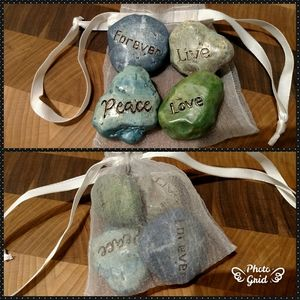 Forever, Peace, Love and Live Faux Rocks in a Bag